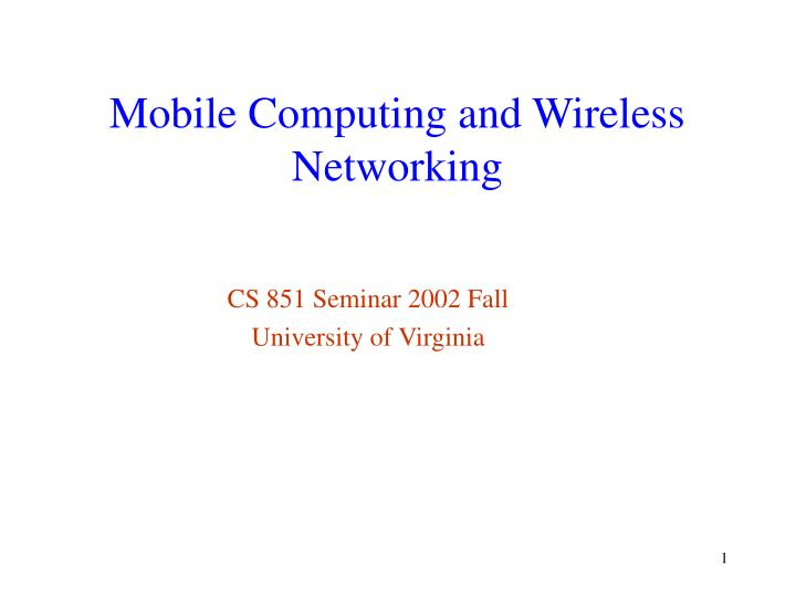 mobile computing and wireless networking n.