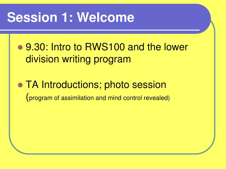 session 1 welcome n.