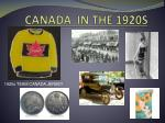 CANADA  IN THE 1920S