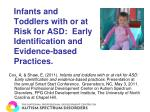 Infants and Toddlers with or at Risk for ASD:  Early Identification and Evidence-based Practices.