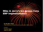 Mike & Jerry's Ice Cream Corp  ERP Implementation