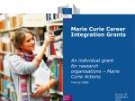 Marie Curie Career Integration Grants