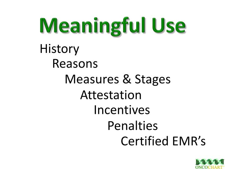 meaningful use n.