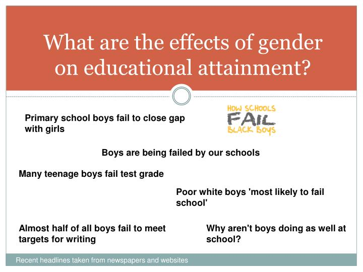 what are the effects of gender on educational attainment n.