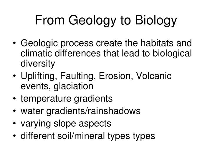 from geology to biology n.