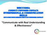 BSBCCO203A   Conduct Customer  Contact: Interpersonal & Communication Skills