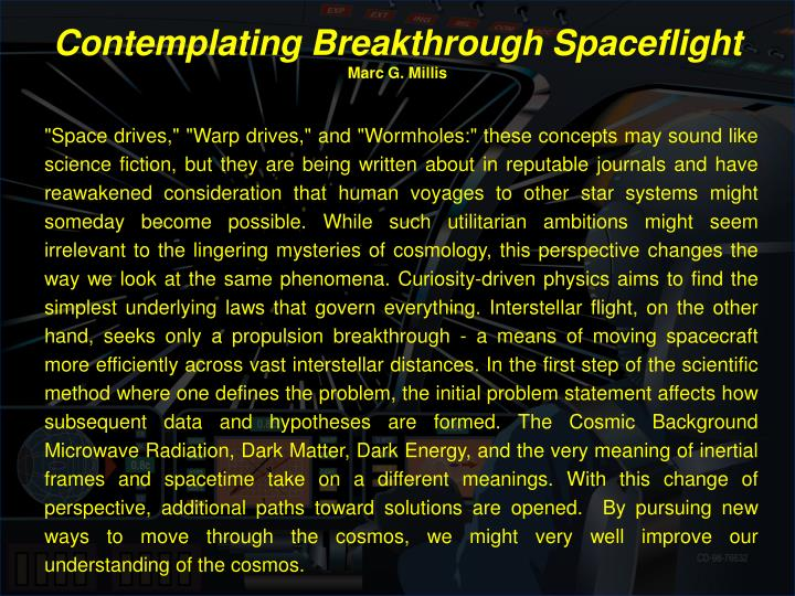contemplating breakthrough spaceflight marc g millis n.