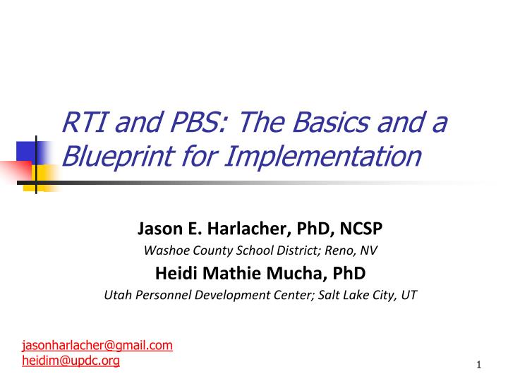 rti and pbs the basics and a blueprint for implementation n.