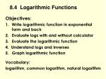 8.4  Logarithmic Functions