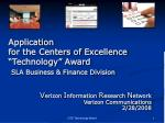 """Application for the Centers of Excellence """"Technology"""" Award SLA Business & Finance Division"""