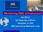 Monitoring EMS Infrastructure