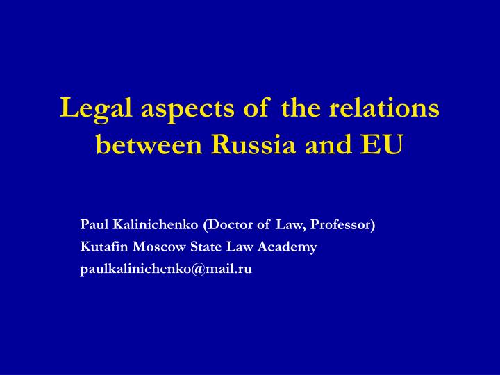 legal aspects of the relations between russia and eu n.