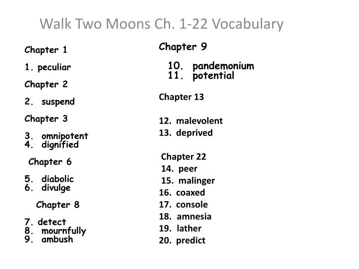walk two moons ch 1 22 vocabulary n.