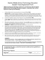 Skyline Middle School Technology Education Student Travel Agreement Form