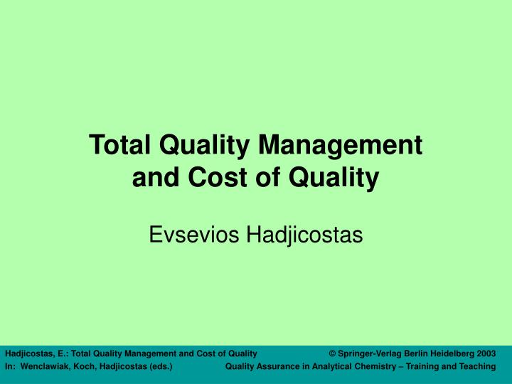 total quality management and cost of quality n.