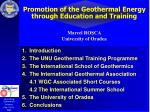 Promotion of the Geothermal Energy  through Education and Training
