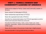 UNIT 1:  FAMILY, CAREER AND COMMUNITY LEADERS OF AMERICA