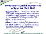 Invitation to submit Expressions of Interest (EoI) 2003