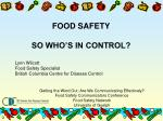 FOOD SAFETY SO WHO'S IN CONTROL?