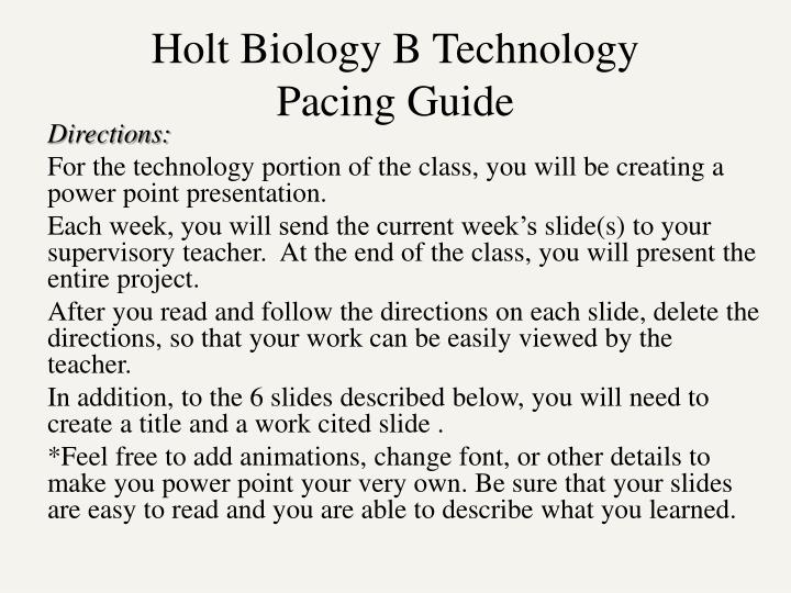PPT Holt Biology B Technology Pacing Guide PowerPoint