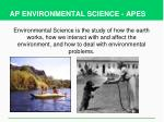 AP ENVIRONMENTAL SCIENCE - APES