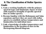 8. The Classification of Stellar Spectra Goals :