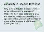Variability in Species Richness
