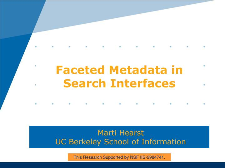 faceted metadata in search interfaces n.