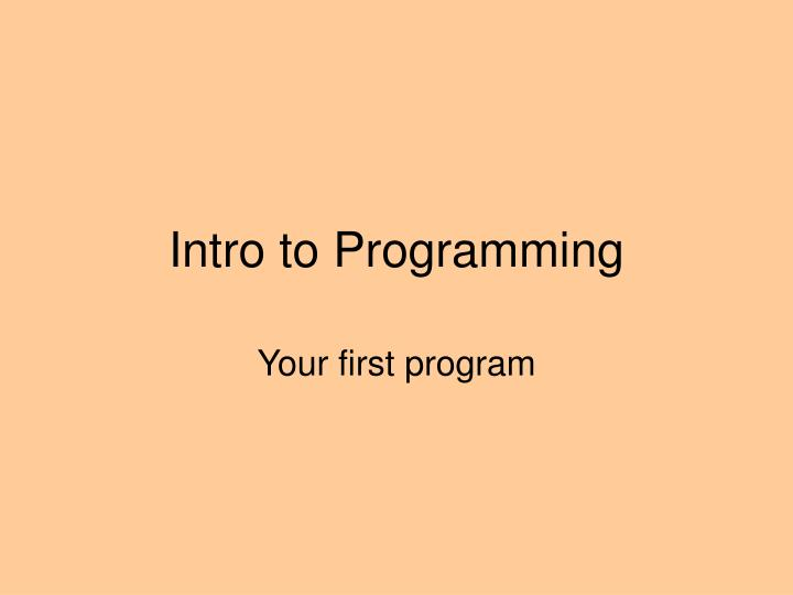 intro to programming n.