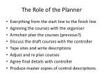 The Role of the Planner