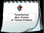 Parenthetical  MLA Citation  of Textual Evidence