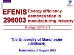 Energy efficiency demonstration in manufacturing industry