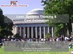 Lean,  Systems  Thinking & Cost Estimation