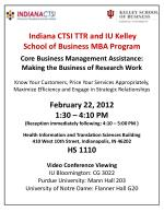 Indiana CTSI TTR and IU Kelley  School of Business MBA Program