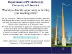 Department of Physiotherapy University of Limerick
