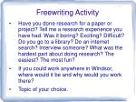Freewriting Activity