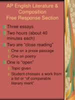 AP English Literature & Composition Free Response Section