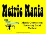 Metric Conversions Factoring Label Method