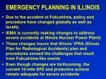 EMERGENCY PLANNING IN ILLINOIS