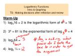 Logarithmic Functions:   Intro & Graphing TS:  Making decisions after reflection and review