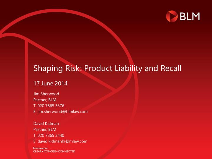 shaping risk product liability and recall n.