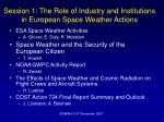 Session 1: The Role of Industry and Institutions in European Space Weather Actions