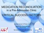 MEDICATION RECONCILIATION                     in a Pre-Admission Clinic CRITICAL SUCCESS FACTORS