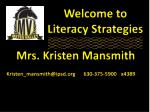 Welcome to Literacy Strategies