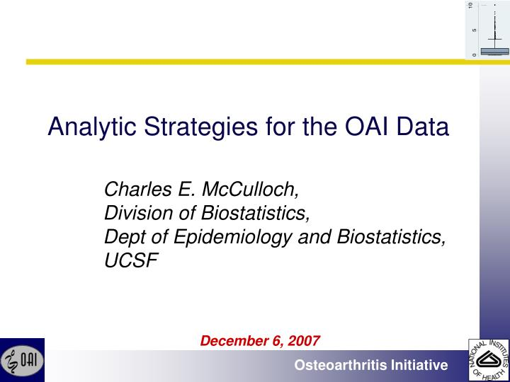 analytic strategies for the oai data n.