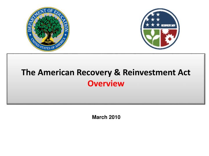 the american recovery reinvestment act overview n.