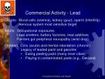 Commercial Activity - Lead Targets:  Blood cells (anemia), kidney (gout), sperm (infertility)