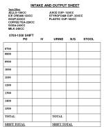 INTAKE AND OUTPUT SHEET 1oz=30cc JELLO-150CC                               JUICE CUP- 120CC