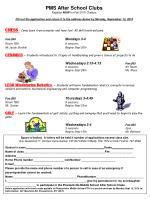 PMS After School Clubs Register  NOW  for Fall 2010 Classes