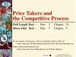 Price Takers and  the Competitive Process